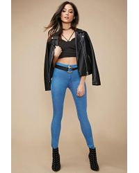 Forever 21 | Blue High-waisted Super Skinny Jeans | Lyst