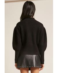 Forever 21 - Black Ribbed Balloon-sleeve Jumper - Lyst
