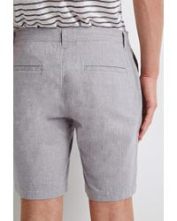 Forever 21 Gray Linen-blend Chambray Shorts for men
