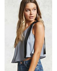 Forever 21 Gray Contemporary One-shoulder Top