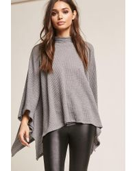 Forever 21 Gray Poncho-inspired Sweater-knit Top