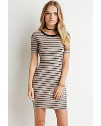 Forever 21 - Black Ribbed Stripe Bodycon Dress - Lyst