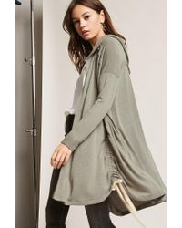 Forever 21 Green Ruched Drawstring Cardigan