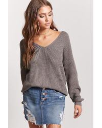 Forever 21 | Gray Twisted-hem Sweater | Lyst