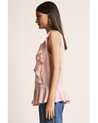 Forever 21 Pink Pinstripe Ruffle Top , Blush