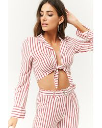 Forever 21 - Red Tie-front Striped Crop Top - Lyst