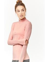 Forever 21 - Pink Active Perforated-sleeve Top - Lyst