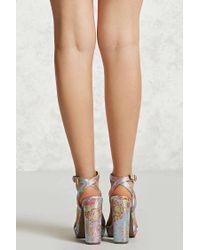 Forever 21 Pink Floral Embroidered Heels