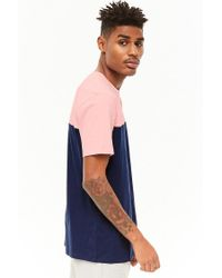 Forever 21 Blue 's Colorblocked Cotton Tee Shirt for men