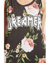 Forever 21 - Black Dreamer Floral Tank Top - Lyst