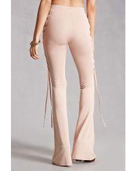 Forever 21 Natural Kikiriki Lace-up Flared Pants