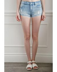 Forever 21 - Blue Ripped Denim Shorts - Lyst