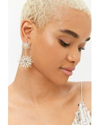 FOREVER21 - Metallic Tiered Faux Gem Drop Earrings - Lyst