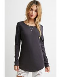Forever 21 - Gray Classic Longline Tee - Lyst