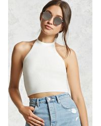 Forever 21 - Multicolor Women's Cropped Ribbed Knit Halter Top - Lyst