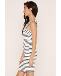 Forever 21 - Natural Ribbed Knit Striped Dress You've Been Added To The Waitlist - Lyst