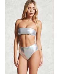 beac6dbcc0 Lyst - Forever 21 High-waisted Bikini Bottoms in Metallic