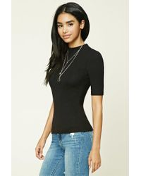 Forever 21 - Black Ribbed High Neck Top - Lyst