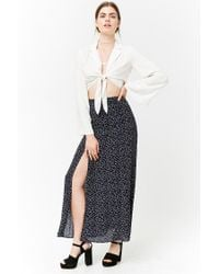 Forever 21 Blue Ditsy Floral Maxi Skirt