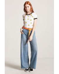 Forever 21 White Happy Face Graphic Ringer Tee