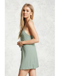 Forever 21 | Green Lace-up Front Mini Dress | Lyst