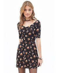 Forever 21 Black Floral A-line Dress