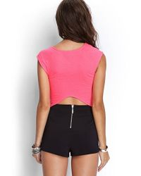 Forever 21 - Pink Quilted Pointy Crop Top - Lyst