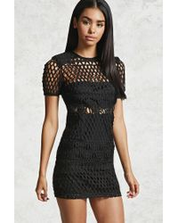 Forever 21 Black Semi-sheer Knit Mini Dress