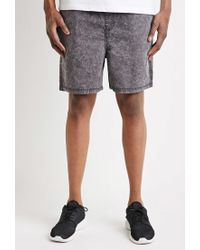 Forever 21 Black 's Mineral Wash Drawstring Shorts for men
