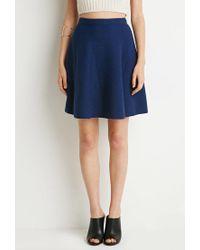 Forever 21 - Blue Ribbed Knit Skater Skirt - Lyst