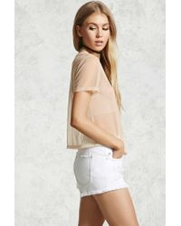 Forever 21 Natural Sequined Feminist Mesh Top