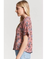 Forever 21 Pink Floral Button-front Shirt