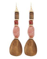 Forever 21 Tiered Beaded Drop Earrings , Brown