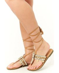 Forever 21 Brown Beaded Leather Ankle-wrap Sandals