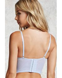 Forever 21 Blue Semi-sheer Lace Corset