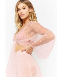 Forever 21 - Pink Sheer Mesh Faux Pearl Top - Lyst