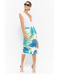 Forever 21 - Blue Foliage Print Pencil Skirt - Lyst
