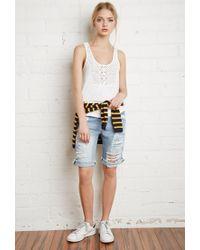 Forever 21 - White Crocheted Slub Knit Top - Lyst