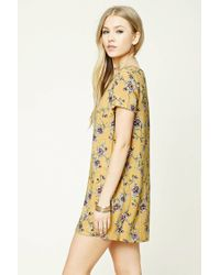 Forever 21 - Yellow Floral Print Shift Dress - Lyst