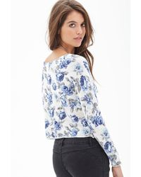 Forever 21 - Blue Rose Print Sweater - Lyst