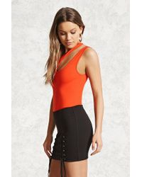 Forever 21 Asymmetrical Cutout Bodysuit , Fiery Red