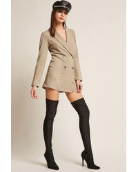 Forever 21 - Natural Stripe Double-breasted Blazer - Lyst