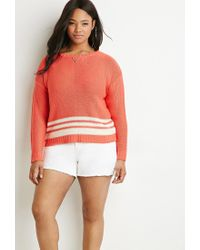 Forever 21 | Pink Contrast-striped Sweater | Lyst