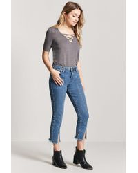 Forever 21 - Gray Strappy Curved Hem Tee - Lyst