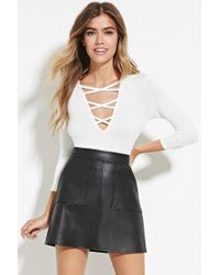 Forever 21 | White Crisscross V-neck Top | Lyst