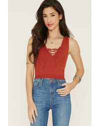 Forever 21 - Red Lace-up Sweater Top - Lyst