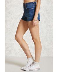 Forever 21 Blue High-waisted Denim Shorts , Denim
