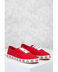 FOREVER21 - Red Rose Printed Sole Sneakers - Lyst