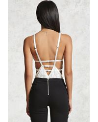 Forever 21 White Chantilly Lace & Mesh Bodysuit