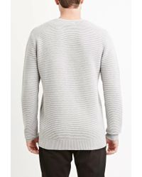 Forever 21 - Gray Ribbed Cotton Sweater for Men - Lyst